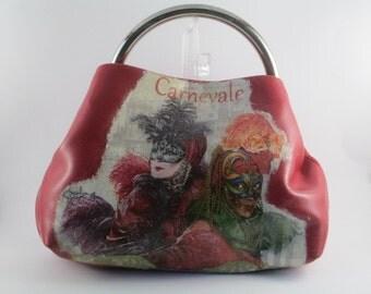 Red Leather Handbag Venice Lover Gift Teenage Girl Purse