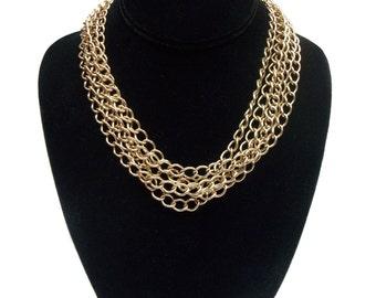 vintage multi-chain necklace / choker necklace / gold metal / toggle clasp / vintage necklace / vintage jewelry
