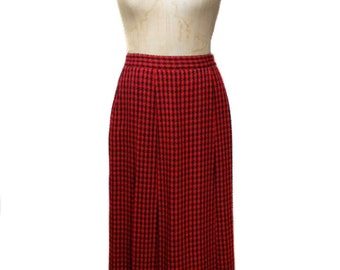 vintage 1980's CHRISTIAN DIOR plaid skirt / red black / wool / pleated skirt / Dior separates / women's vintage skirt / tag size 10