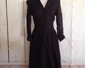 Vintage 1950s Dress - Black with Red - Black Lace - TLC Sale