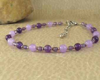 Amethyst and Quartzite Anklet - Lavenders - Reiki Jewelry - Concentration Meditation Crown Chakra