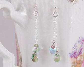 Dainty Swarovski silver earrings, Crystal Paradise shine Swarovski crystals, light green, purple, crystal teardrops, small delicate earrings