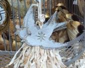 Vintage Bird Christmas Ornament Silver Glass Glitter Dresden Star Handmade French Edwardian Victorian Shabby Nordic