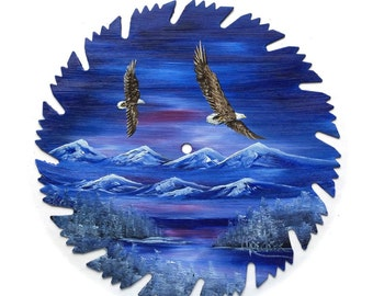 Hand Painted Saw Blade Mountain Scenery Blue Winter Pair Eagles