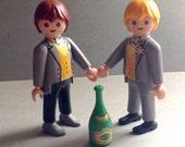 Groom and Groom, Playmobil Geobra, wedding cake topper, champagne, original, same sex marraige, gay pride, collectible, 1990's, egst, Greece