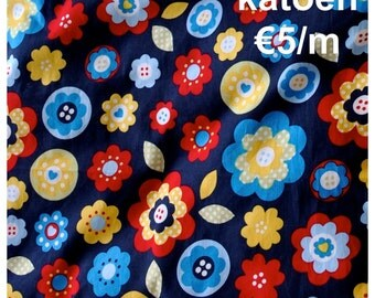 SALE Cotton Flowerprints 'Navy'