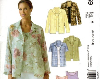 "Easy Women's Jacket, Blouse and Top Pattern- Size 8, 10, 12, 14 Bust 31 1/2"" to 36"" - McCall's M5359 uncut"