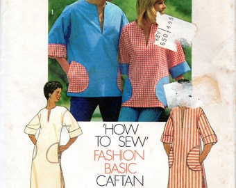 """Easy 1970s Women's Caftan or Pullover Top or Tunic Pattern - Size 12, Bust 34"""" - Simplicity 6835 uncut"""