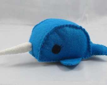 Bright Blue Narwhal Felt Toy