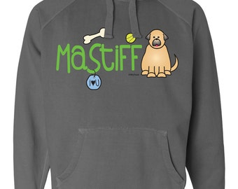 Mastiff Doodle Garment Dyed Hoodie Sweatshirt