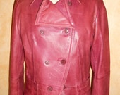 Vintage Cool Burgundy Red Colored Super Soft Boho Chic Leather Jacket 1980