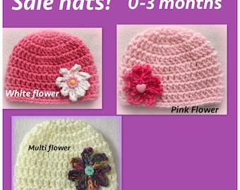SALE baby girl hat, newborn baby hat, 0-3 months, newborn, pink, ivory