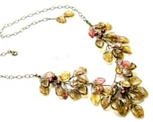 Pink and Brown Bib Necklace, Golden Brown Glass Leaf Necklace, Nature Jewelry,  Brown Statement Necklace