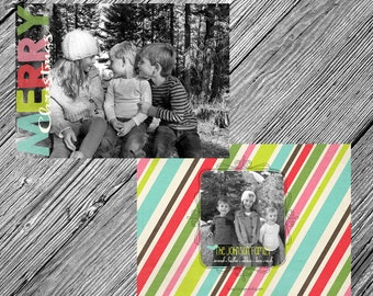 Whimsical Colorful Christmas or Holiday Photo Card {Printable • Two-Sided • Customizable • DIY}