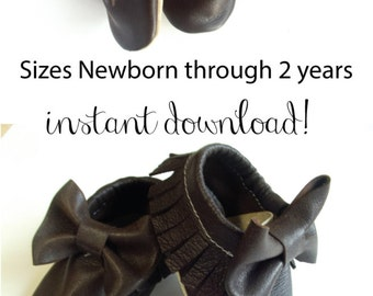 Baby Bow Moccasins Fringe Leather PDF Sewing Pattern Tutorial