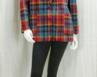 90s Grunge plaid blazer Minimalist boxy jacket Womens wool sport coat Colorful preppy clothing Teal red multi color oversized jacket M L
