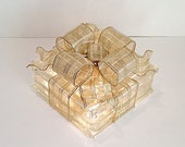 Light Up Glass Block / Present For Decoration With a Gold & White Stripped Bow