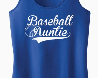Baseball Auntie Racerback Tank Top