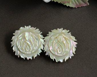 Vintage Mother of Pearl Rose Flower Clip Earrings, abalone AB earrings