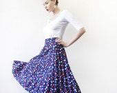Vintage navy blue colorful bright polka dot accordion pleated high waist midi skirt M-L
