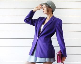 VERSACE vintage deep purple blue wool cashmere gold medusa button blazer jacket Size M L