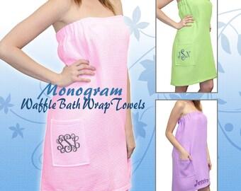 Monogram Bath Wrap Towel, Personalized Bath Wrap Towel, Waffle Weave Bath Wrap, Spa Wraps