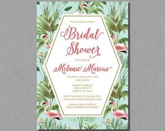Tropical Bridal Shower Invitation flamingo BV11 Digital or Printed