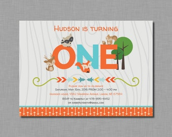 Woodland First Birthday Invitation fox deer orange blue MB73 Digital or Printed