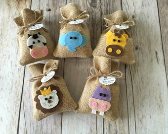10 safari baby shower burlap rustic favor bags
