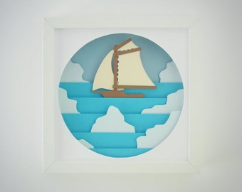 Ship between icebergs