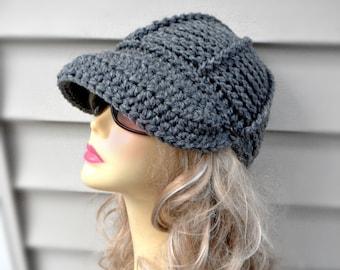 Grey Newsboy Cap Crochet Brim Hat Womens Crochet Hat Winter Hat Womens Accessories