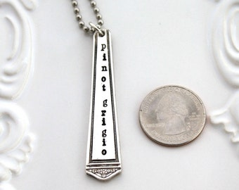 Pinot Grigio Silverware CHARM TAG Hand Stamped Gift Vintage Silverware Wine Bottle Tag - Made In Usa & Ready To Ship
