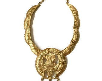 Vintage Kenneth Jay Lane Egyptian-Revival Goddess Isis Necklace