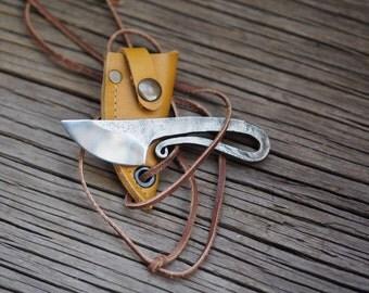 Forged knife-viking style neck knife, edc neck knife, viking knfe, forged knife