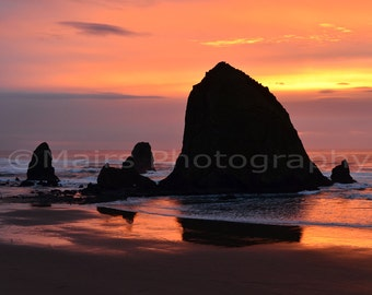 Sunset Cannon Beach Haystack Rock Layers Lavender Black Orange Wet Sand Pacific Northwest, Fine Art Photography matted & signed 8x12 print