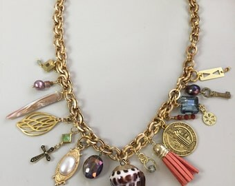 Gold Found Object Necklace  - An Eclectic  Mixture of Reclaimed Art with a Touch of Bling