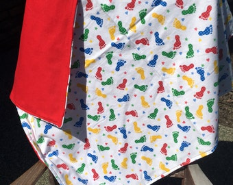 Flannel Baby Blanket / Kid Car Blanket - Primary Colored Footprints, Personalization Available