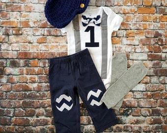 Baby Boy First Birthday Outfit - Little Man, Bow Tie Bodysuit, Leg warmers, Button Hat, Cake smash, 1st Birthday, Navy Blue Chevron