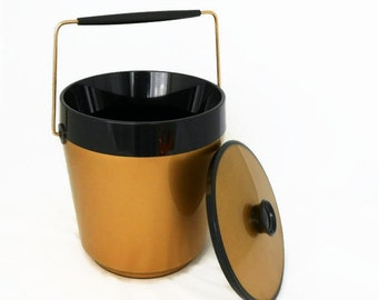 Vintage Ice Bucket - Thermo Serv - Insulated Ice Bucket - Westbend - Retro Ice Bucket - Mid Century - Gold and Black - Party