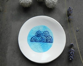 Porcelain Clouds Ring Dish Recycled Blue Glass OOAK White Ceramic Plate Jewelry Dish