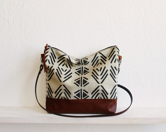 Aztec print crossbody bag, Messanger bag, Canvas and Leather bag, Triangle print, Geometry bag, Navajo, Tribal print