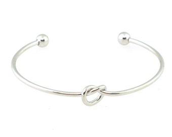knot cuff bracelet, Bridesmaid Gift Love Knot Cuff Bracelet, Anniversary Gift, Wedding Silver Heart Bracelet Gift,Tie The Knot Gift Bracelet