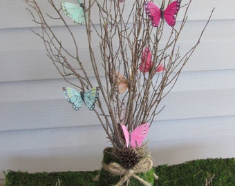 Bridal Shower Centerpieces 1 Moss Jar Table Decor Branches Butterflies Wedding Butterfly