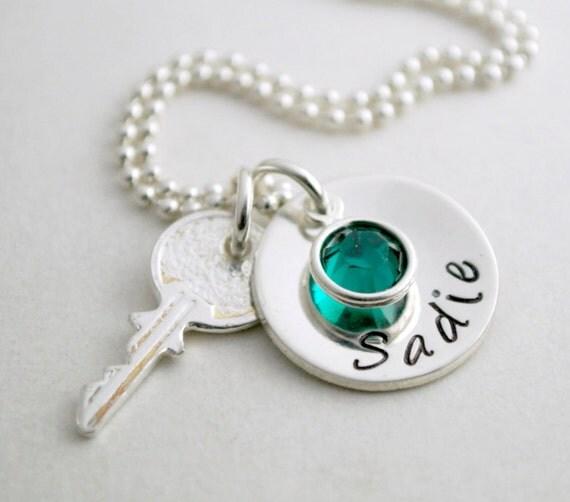 Sweet 16 Charm Bracelet: Sweet 16 Necklace With Key Charm Sweet 16 Jewelry Birthday