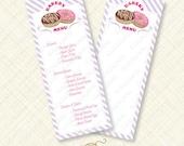 Donut Party Menu Printable sign purple card doughnut bake shoppe shop bakery instant download stripes editable text pdf breakfast sweet diy