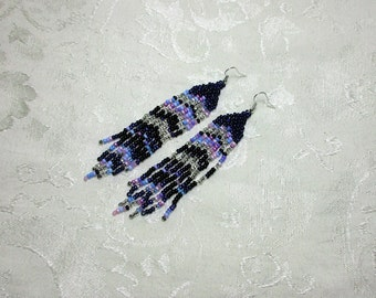 Long Beaded Fringe Earrings. Cosmic Earrings. Long Beaded Earrings. Hand Beaded Earrings. Pastel Earrings. Black Beaded Earrings.