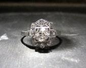 HOLD FOR A--Vintage Engagement Ring, Art Deco Old Mine Diamond .50ct Ring Platinum c. 1920, Art Deco Engagement, Antique Engagement