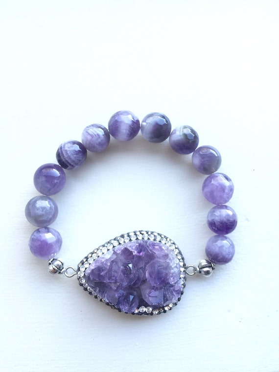 Genuine Purple Amethyst Colored Prince Stone and Agate Beaded Quartz Rock Bracelet