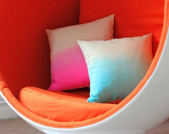 Set of 2 Dip Dye Cushion Cover / Ombre Pillow Cover - Hand Dyed