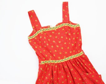 1960s Dress / Vintage Red Sundress / Yellow Floral Strappy Day Dress